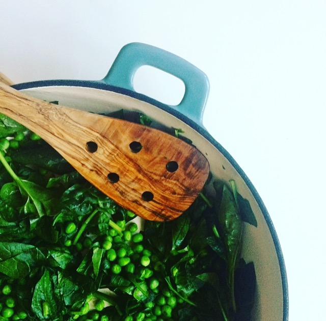 Erbsen und Spinat